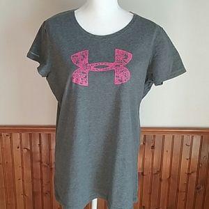 Gray/Pink Under Armour Heat Gear Shirt size XL